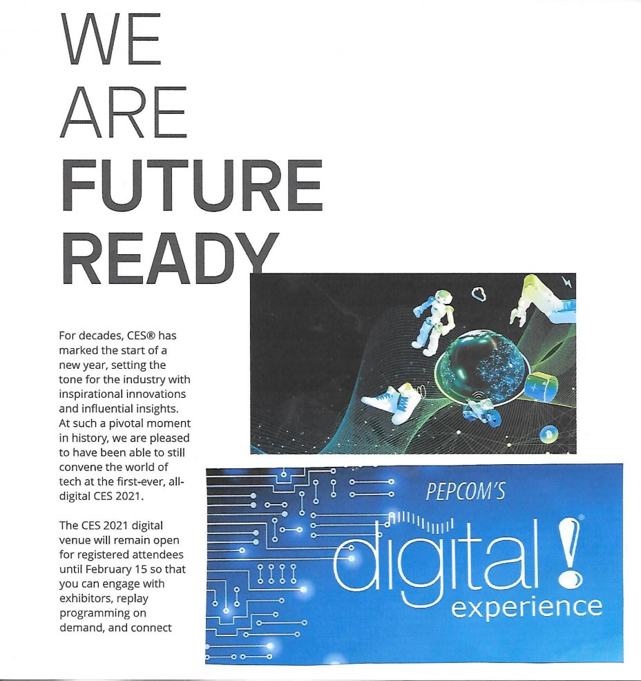 2021 CES (53rd Consumer Electronics Show) and 2021 PEPCOM: All Digital and Virtual Experience: January 11 to 14, 2021