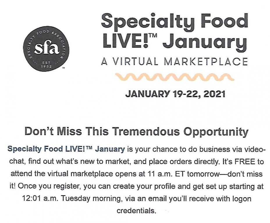 2021 Specialty Food LIVE! January: A Virtual Marketplace and the 2021 SFA Leadership Awards 1